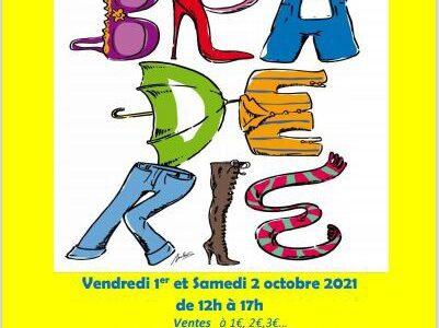 la prochaine braderie aura lieule vendredi 1er et le samedi 2 octobre 2021de 12h à 17h au Centre 72, 72 rue Victor Hugo 92270 Bois-Colombes.